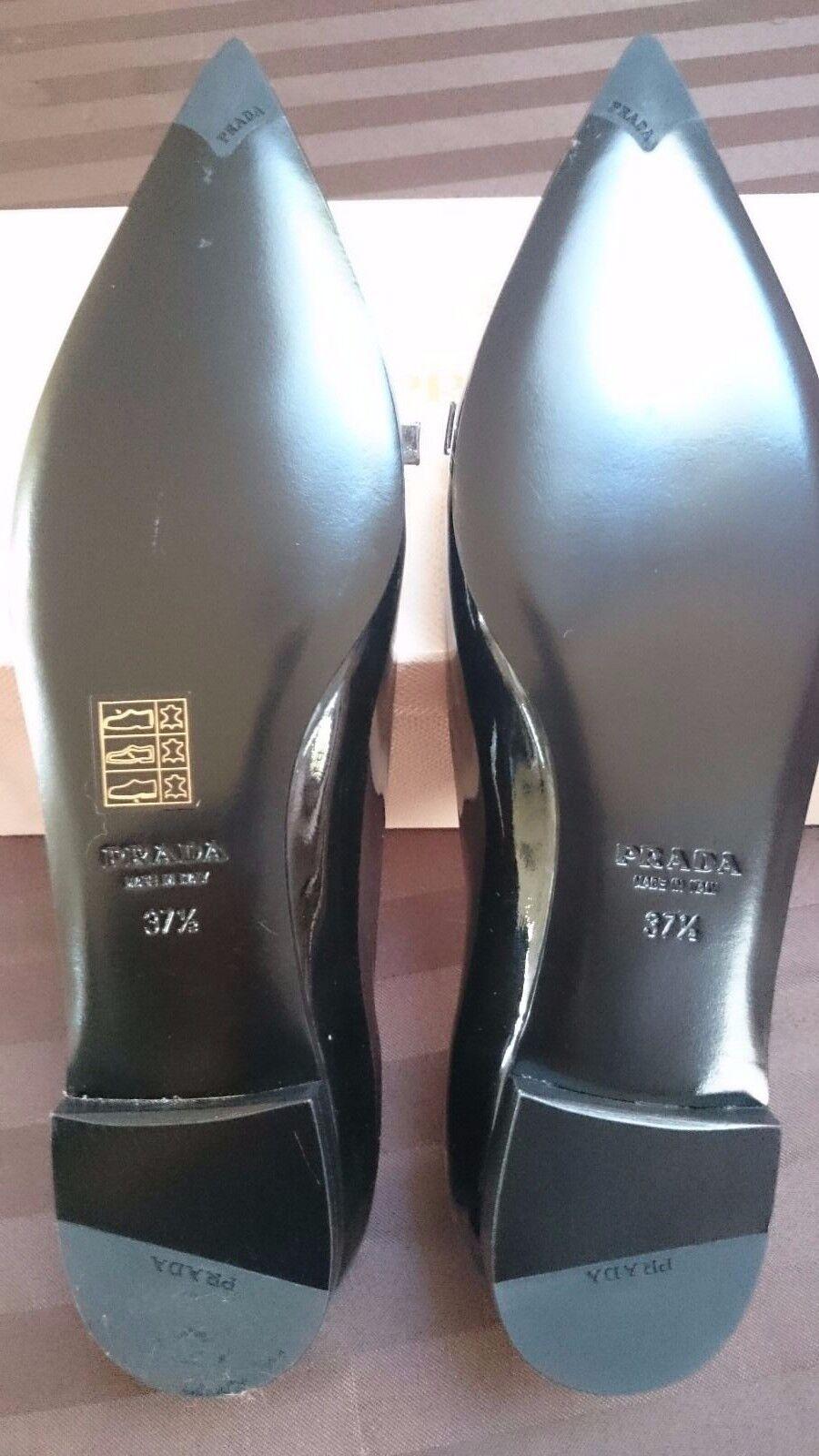 PRADA Classic Bow pink Bi-color Bi-color Bi-color Patent Leather Pointy Toe Flats 37.5 73dd4b