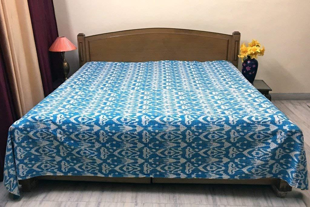 Queen Size Kantha Quilt Ikat Cotton Fabric Reversible Bedspread Vintage Bedding