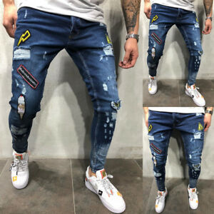 US-Mens-Ripped-Skinny-Jeans-Destroyed-Frayed-Biker-Slim-Fit-Denim-Pants-Trousers