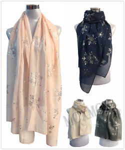 New-Ladies-Women-Soft-Scarf-with-Silver-Foil-Snowflake-Flower-Metallic-Gift