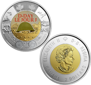 2019 D-Day Juno Beach 75th Anniversary Normandy Campaign Toonie $2 Colour Coin