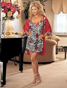 Shirley-of-Hollywood-Women-S-M-L-Animal-Print-Red-Chemise-and-Robe-Designer