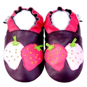Littleoneshoes Soft Sole Leather Baby Infant Kids StrawberryPurple Shoes 12-18M