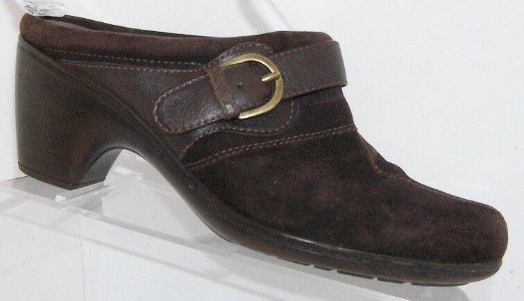 Clarks 'Santa Fe' brown suede round toe buckle strap slip on clogs mules 7.5M