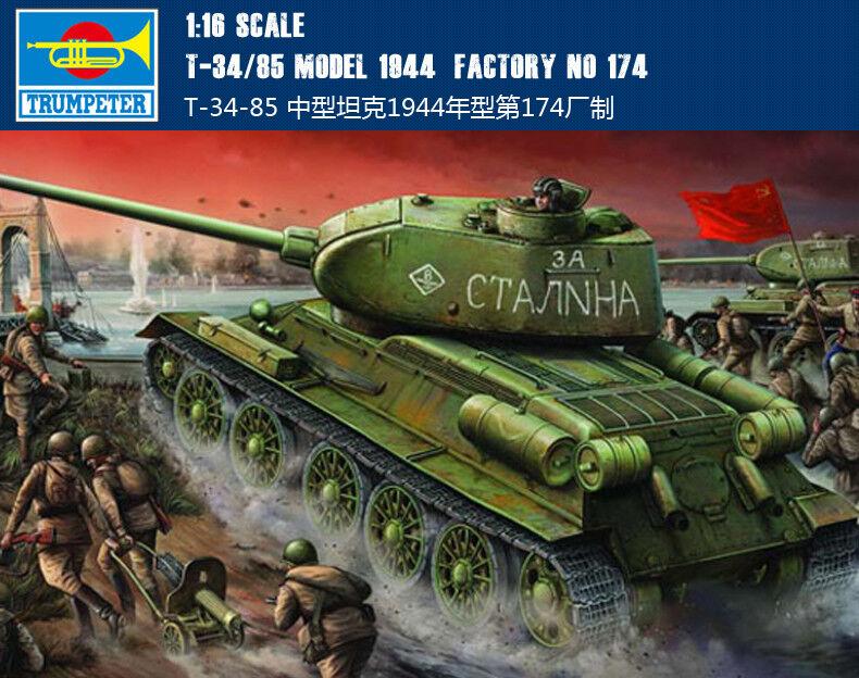 Trompetista 00904 1/16 T-34/85 Modelo 2018 fábrica No.174 Kit de coche del tanque blindado