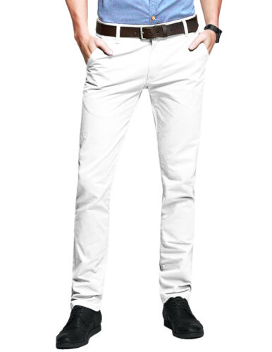 Mens Chino Trousers Slim Fit Stretch Casual Jeans westAce Cotton Designer Pants