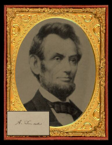 """PRESIDENT ABRAHAM LINCOLN 8-1//2/"""" X 11/"""" Photo /& Copy of Autograph 1864"""