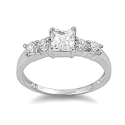 .925 Sterling Silver Princess Cut Clear CZ Wedding Promise Ring Size 4 5 6 7 8 9