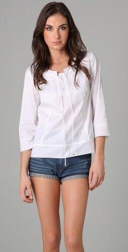 DVF Diane Von Furstenberg TULLIA Weiß Cotton Batiste Top Blouse 2 US