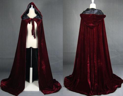 HOT Cloak Hooded Velvet /& Satin Cape Renaissance Clothing Medieval Costume
