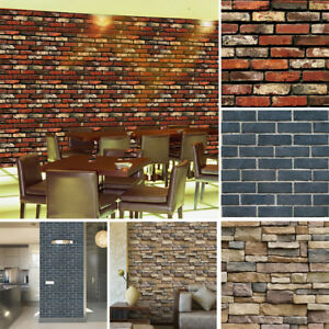 3D-Wall-Paper-Brick-Stone-Rustic-Effect-Self-adhesive-Wall-Sticker-Home-Decor