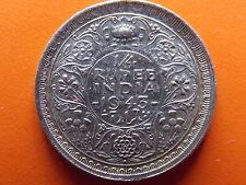 "George VI King Emperor 1/4 Rupee ""1943"" Bombay Mint Original Silver Coin"