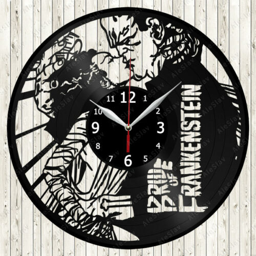 Bride of Frankenstein Movie Vinyl Record Wall Clock Decor Handmade 1876
