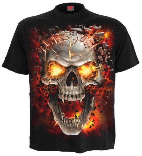 Spiral Direct SKULL BLAST KIDS T-Shirt//Rock//Metal//Music//Fire//Unisex//Boys//Top//Tee