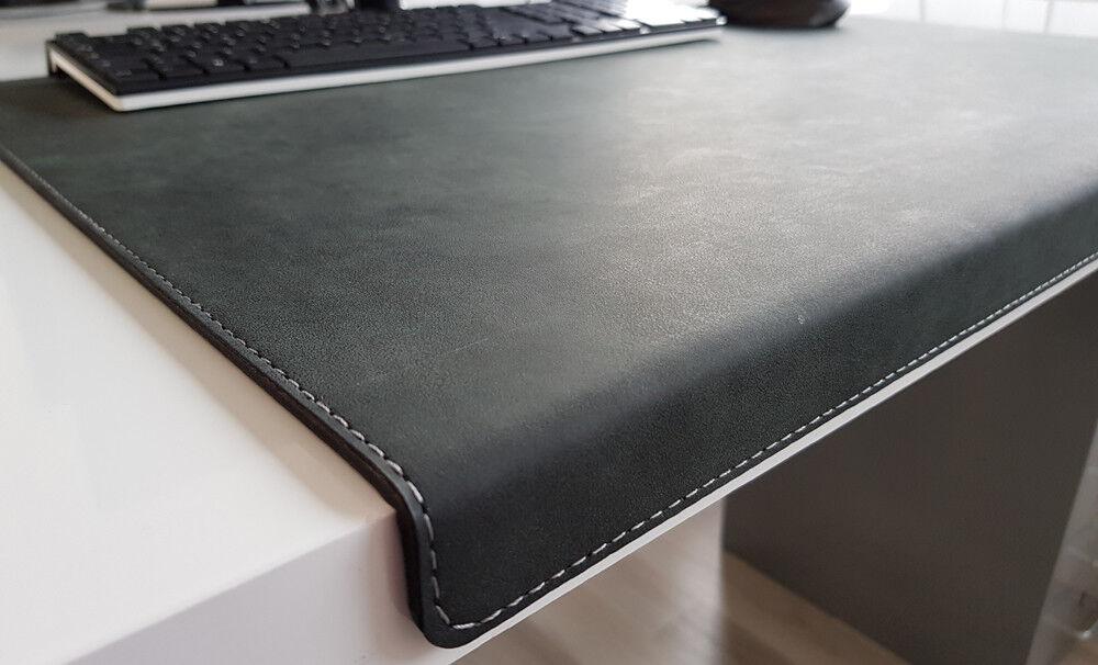 Gewinkelte Schreibtischunterlage Nubuk Leder 70 x 47 Anthrazit
