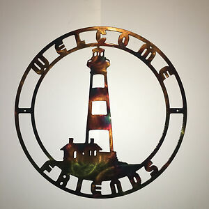 Details About Bo Island Nc Lighthouse Nautical Indoor Outdoor Metal Wall Art Welcome Sign