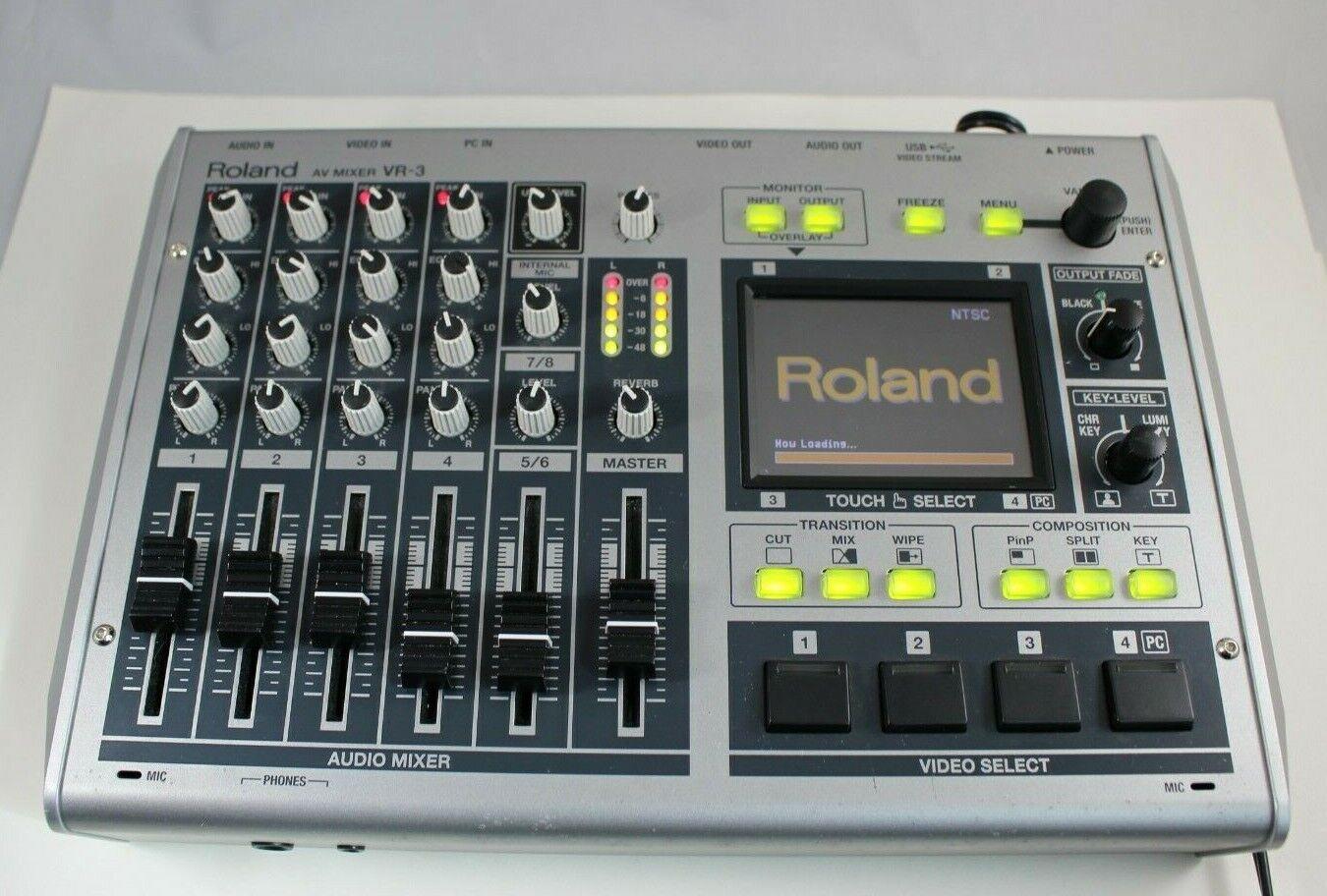 Roland AV Mixer VR-3 Portable Audio Video A V VR3 Switcher Webcasting Power Adap