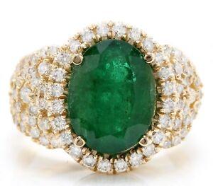 5-80-Quilate-Esmeralda-Natural-amp-Diamonds-en-14K-Oro-Amarillo-Mujer-Anillo