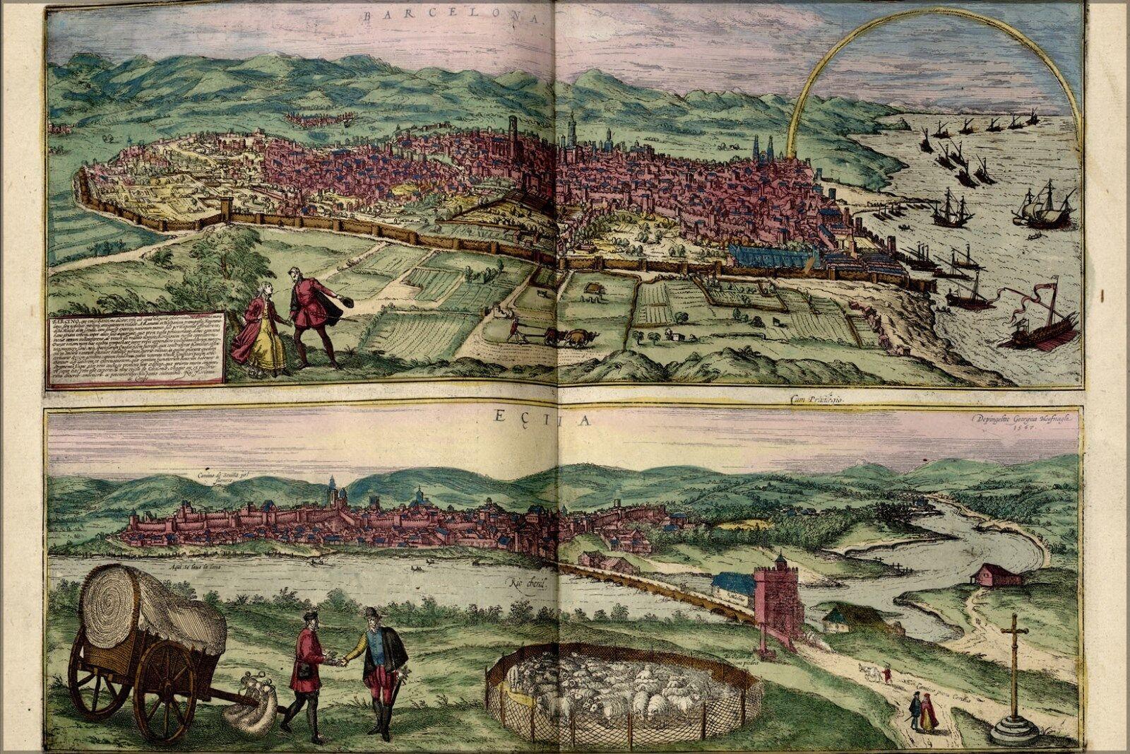 Poster, Many Größes; Map Of Barcelona 1567