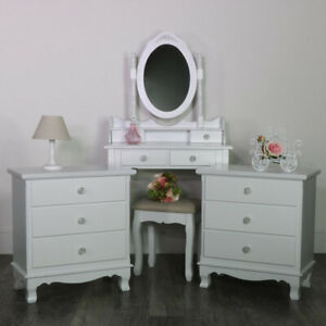 Details about White Wooden Bedroom Set Dressing Table Mirror Stool Drawers  Shabby French Chic