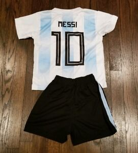 promo code 8b3f1 c474c Details about Argentina Messi #10 Kid's Soccer Jersey youth jersey and  shorts