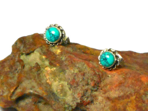 5 mm Blue TURQUOISE Sterling Silver 925 Gemstone Stud Earrings Round Green