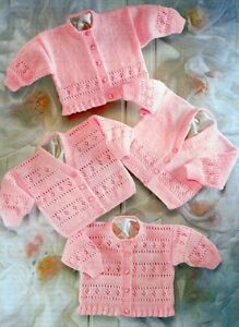 BABY Toddler Knitting Pattern 4 Ply  copy CARDIGANS & Jumpers 4 Designs PREMMIE