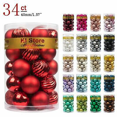 40mm Silver SHareconn 34ct 1.57 Christmas Balls Ornaments Shatterproof Christmas Tree Decoration Ball for Family Holiday Party,Tree Ornaments Hooks Included
