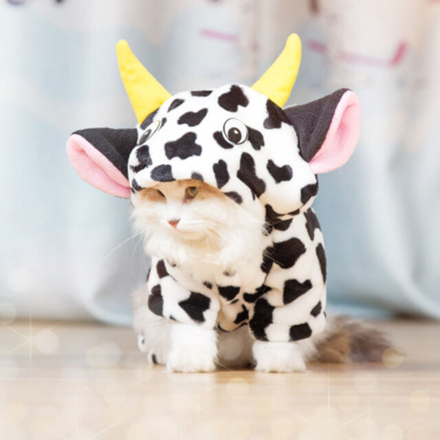 Cow Cosplay Cat Costume Soft Pet Jumpsuit Hoodie for Small Kittens Warm Clothing