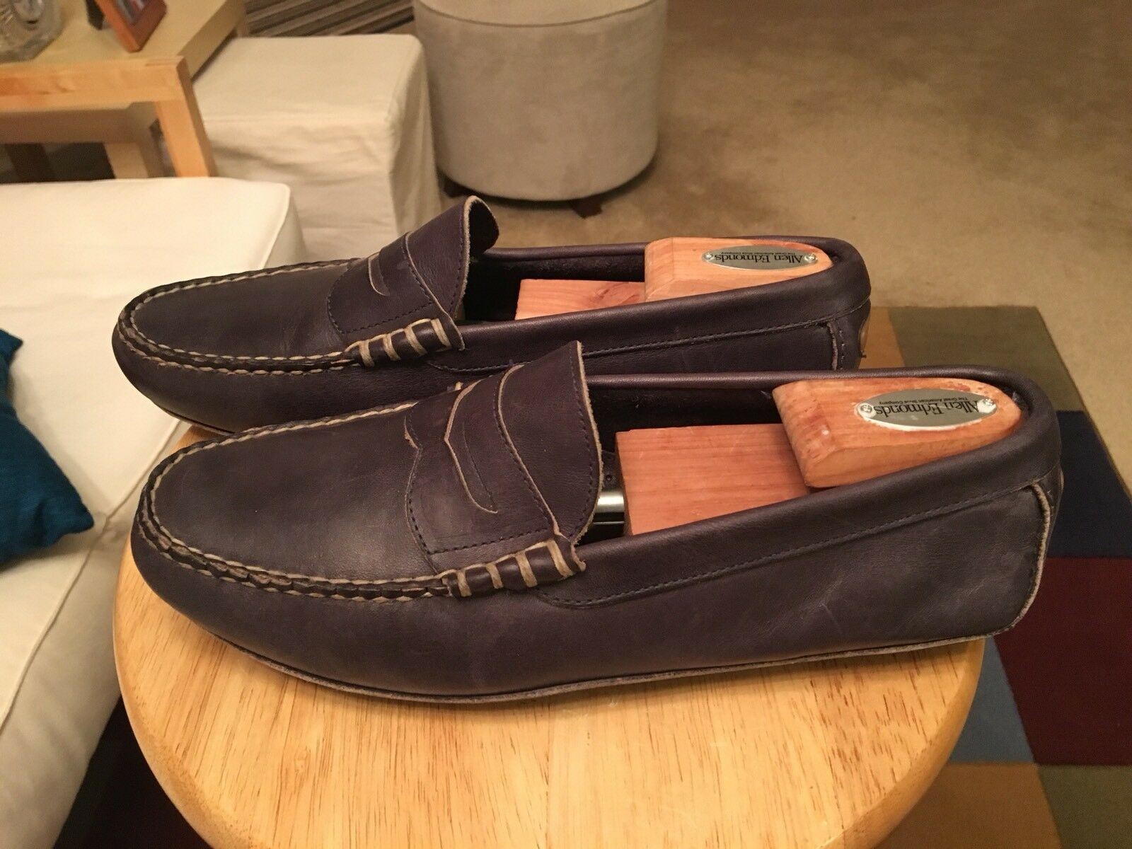 Allen Edmonds AE DAYTONA Navy Men's US10 Leather Penny Loafers shoes