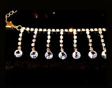 Ladies Anklet Diamanté Chain Gold Luxury Sparkle Bling Crystal Jewellery New
