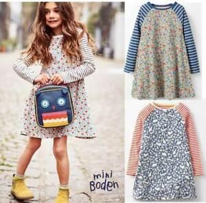 Mini-Boden-dress-ditsy-flower-bird-print-tunic-blue-red-age-2-3-4-5-6-7-8-9-10