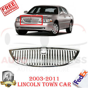 Front-Grille-Chrome-Shell-amp-Insert-Plastic-For-2003-2011-Lincoln-Town-Car