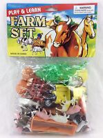 Farm Toy Play Set Animals Truck Trailers Fences & Play Mat Plastic 36 Piece Lot
