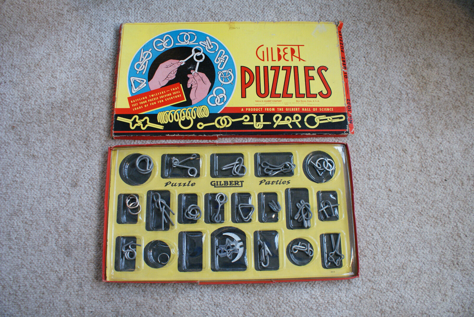 Antiguo De Colección 1940 Puzzles de Gilbert partes Caja de juegos de la mente cerebro Teaser Toys
