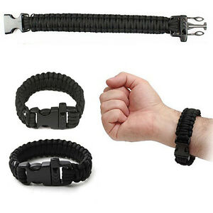 Black-Outdoor-Climbing-Rope-Bracelet-7-Core-Cords-With-Survival-Whistle-New
