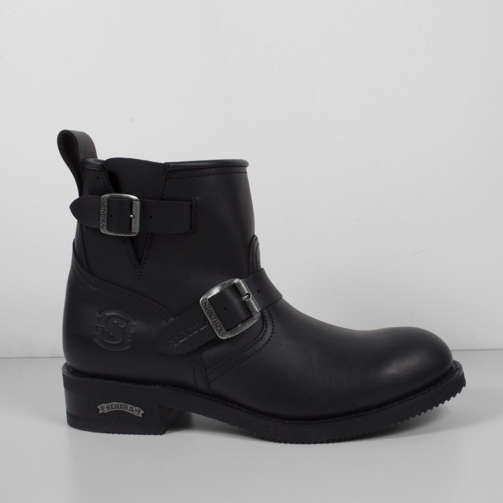 Sendra 2976 Mens Leather Motorcycle Moto Pull On Buckle Ankle Biker Boots Black