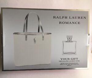 Romance By Ralph Lauren 3.4oz EDP Spray   White Canvas Tote Bag G ... ecc5a24692