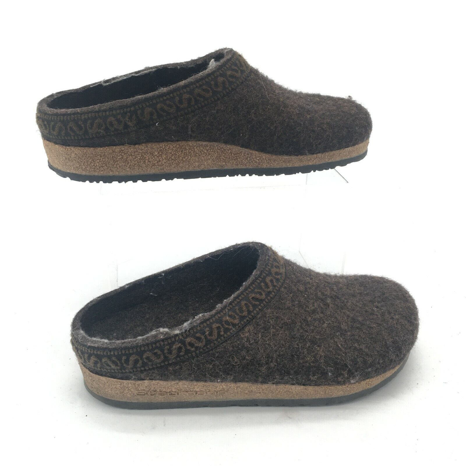 Stegman Womens 37 Slip On Wool Clogs Mules Casual Comfort Shoes Brown Cork Sole