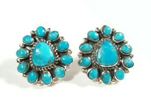 925-STERLING-SILVER-FLOWER-CLUSTER-TURQUOISE-3-4-034-x-3-4-034-POST-EARRINGS