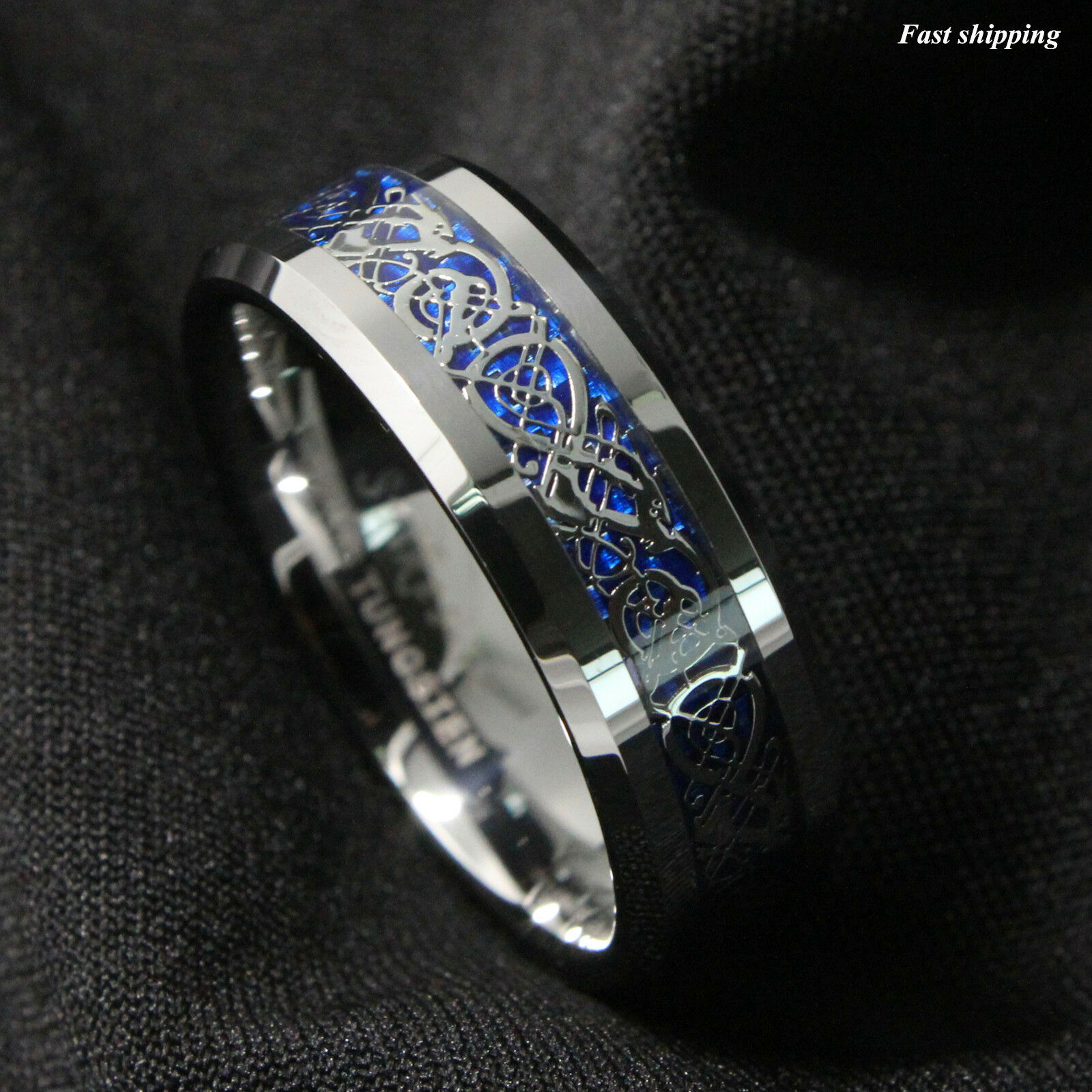 8mm silvering celtic dragon tungsten carbide ring mens. Black Bedroom Furniture Sets. Home Design Ideas