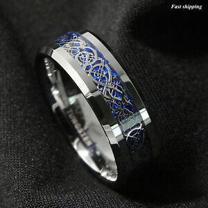 Image Is Loading 8 6mm Silvering Celtic Dragon Tungsten Carbide Ring