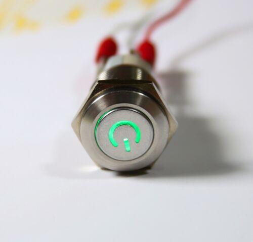 Einbauschalter rastend Taster Druckschalter 16 mm max 250V 3A Edelstahl LED