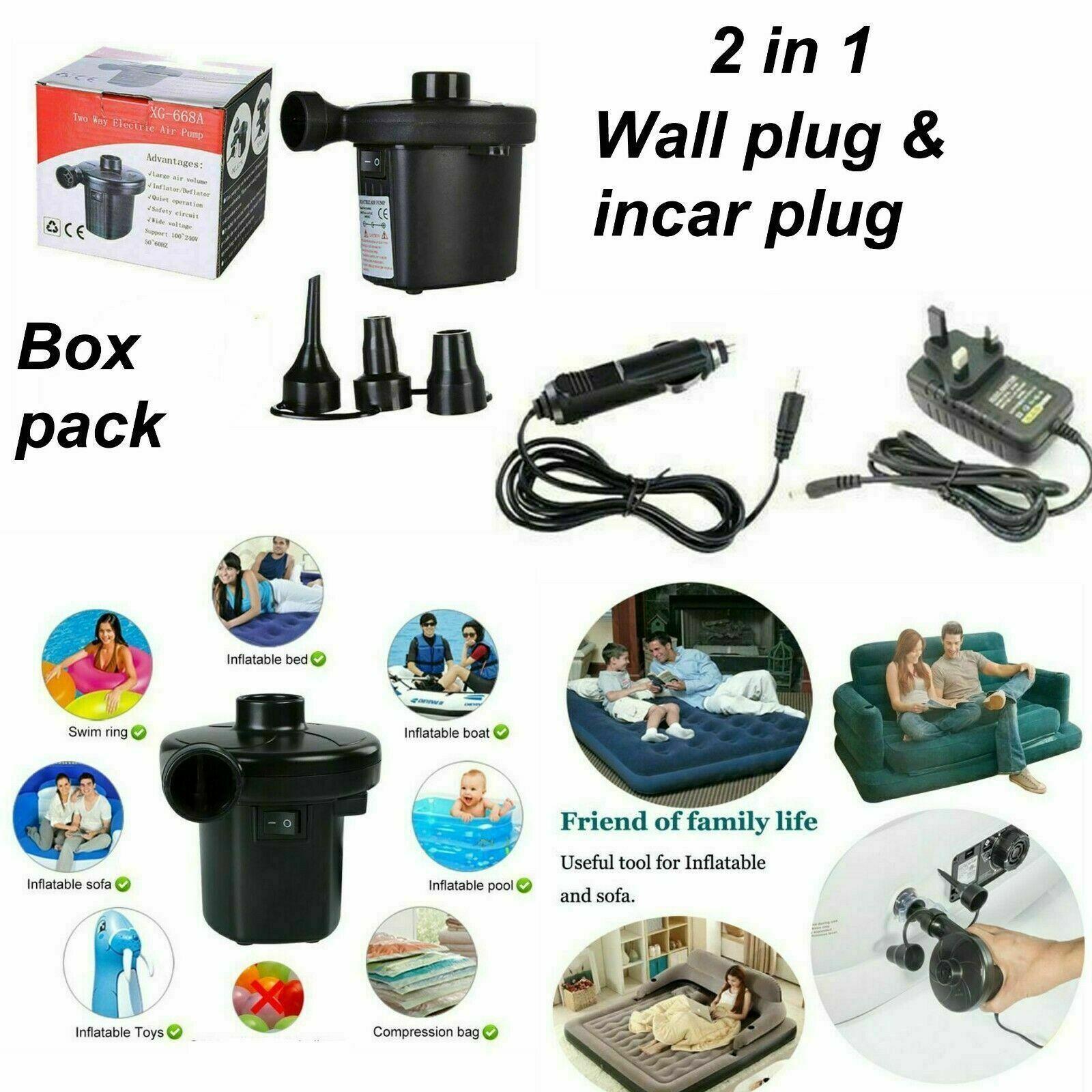 ELECTRIC 3 VALVE ADAPTOR AIR PUMP INFLATING BOAT BED PADDLING POOL CAMPING PU104