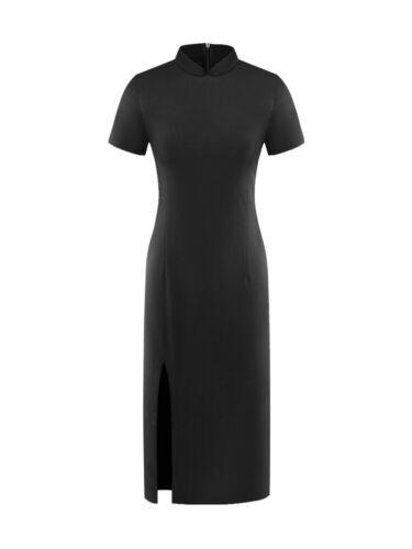 Elegant Womens Cheongsam Side Slit Long Dress Retro Chinese Classic Slim Qipao