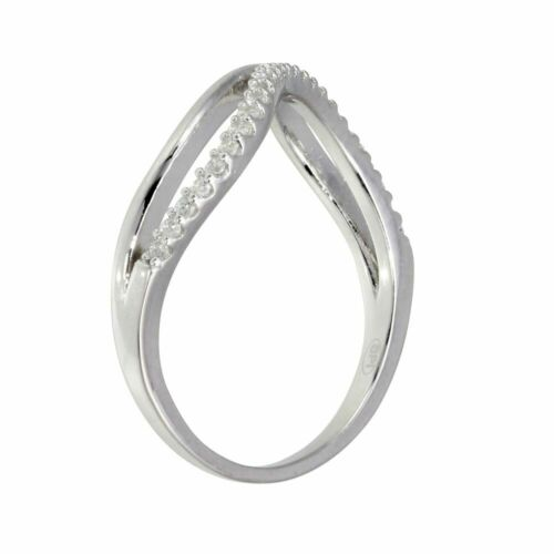 Womens Double Wave Ring Band with CZ 925 Sterling Silver
