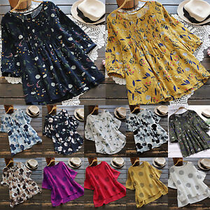 Women-039-s-Summer-Boho-Short-Sleeve-Casual-Loose-Tunic-Top-Tee-Shirts-Holiday-Size