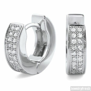 925 Sterling Silver Polished Rhodium-plated 2-row CZ Hoop Earrings