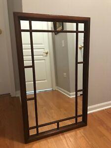 Cherry Wood Framed Windowpane Wall Mirror | eBay