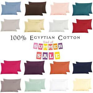 200-TC-New-Oxford-100-Coton-Egyptien-vente-Plain-Pack-2-Taie-d-039-oreiller-Housse-Paire